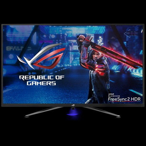 XG438Q monitor, 43-inch monitor with warrior waving a sword as screen, and a amd radeon freesync2 HDR logo on the bottom right corner.