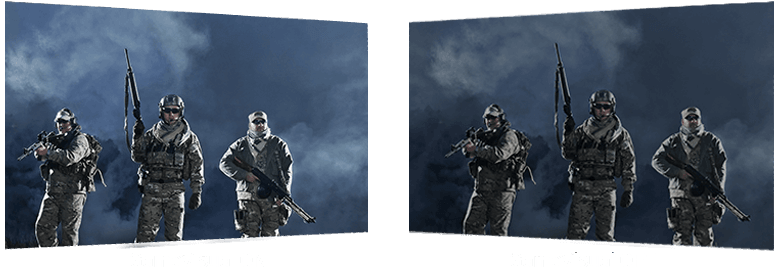 game_cinemak ,two images to show different between GameVisual on and off, three soliders in different brighter