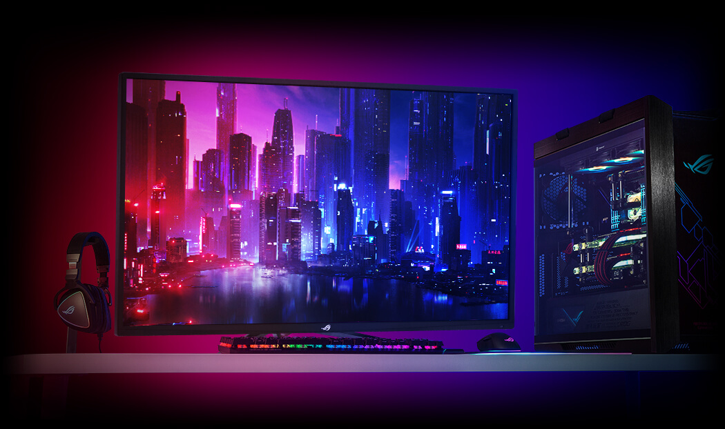 one headphone, one monitor , one keyboard, one mouse and a computer case in a vivid color background