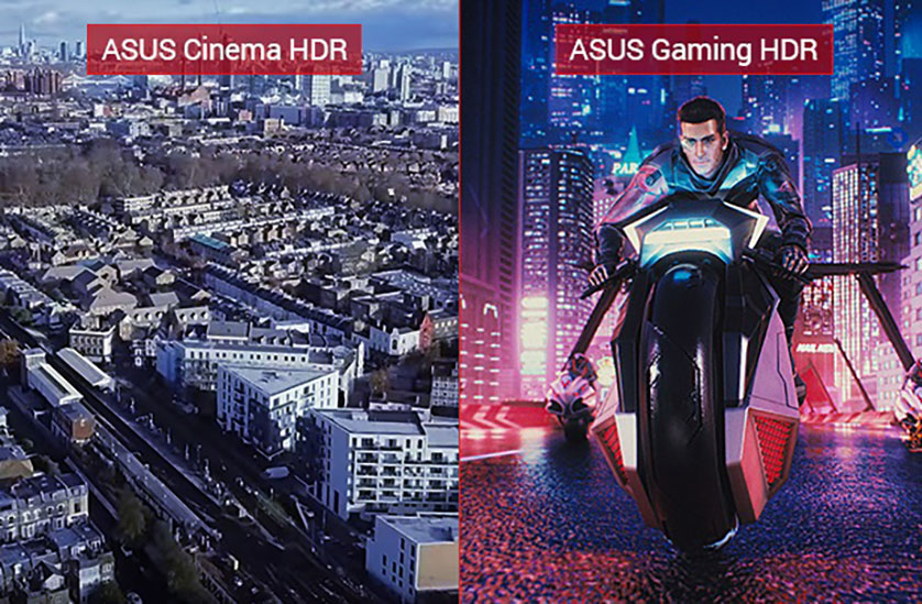 one image splited into two, showing different effect between cinema HDR and gaming HDR