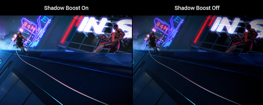 one image splited into two, showing different effect between shadow boost on and off