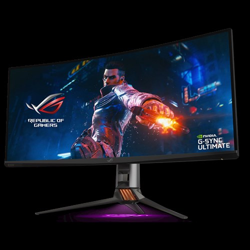PG35VQ monitor, 35-inch monitor with warrior waving a sword as screen, and a amd radeon freesync2 HDR logo on the bottom right corner.