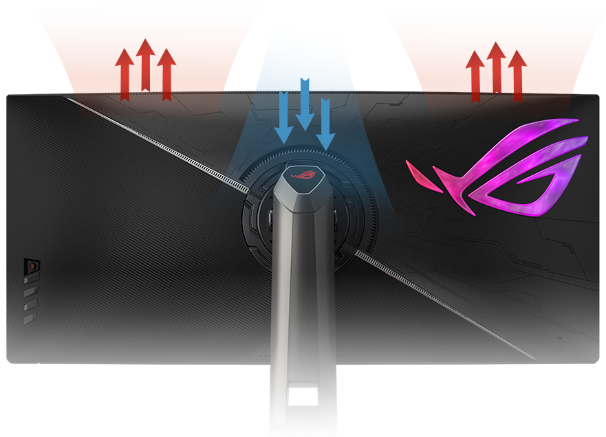 the back of the monitor, showing the effect of the smart fan control
