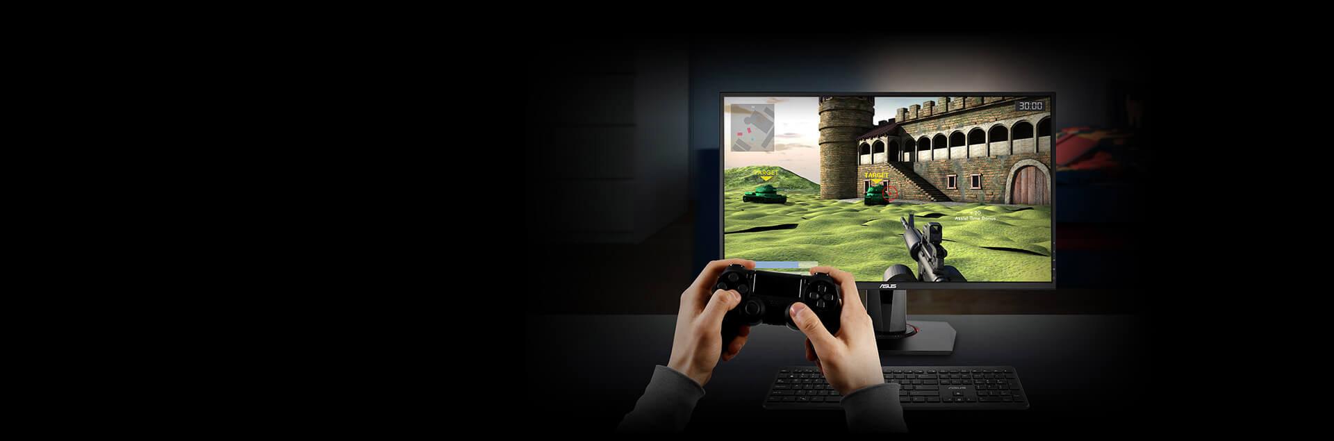 a man is playing shooting game as screenshot
