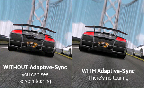 a image split into two, showing difference effect between adaptive-sync on and off