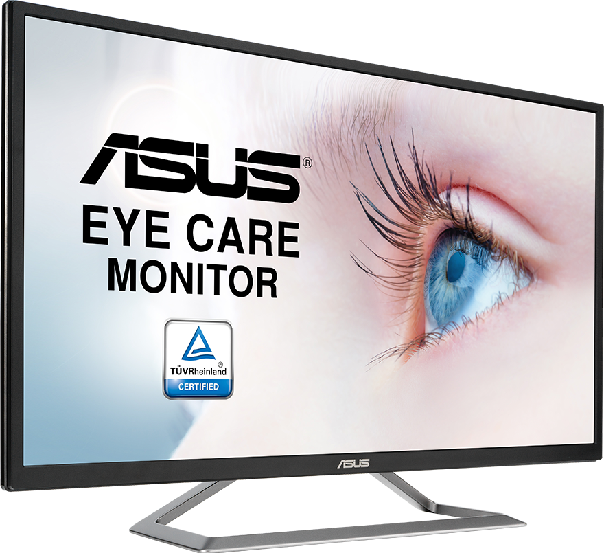 a monitor with a babyeye as screen , asus logo