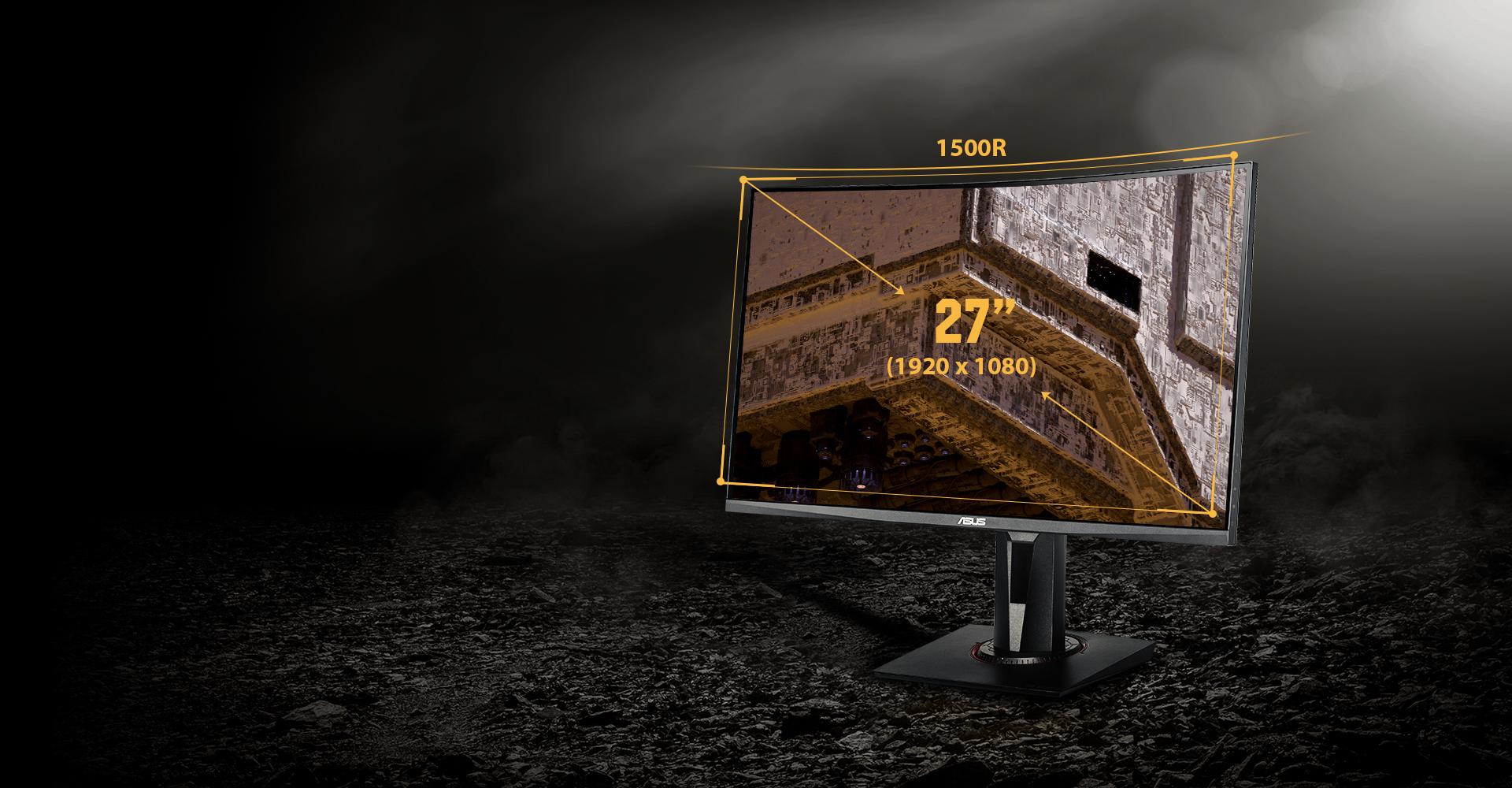 Asus Tuf Gaming Vg27vq 27 Full Hd 1920 X 1080 165hz Extreme Low Motion Blur Adaptive Sync Freesync 1ms Mprt Curved Gaming Monitor Newegg Com