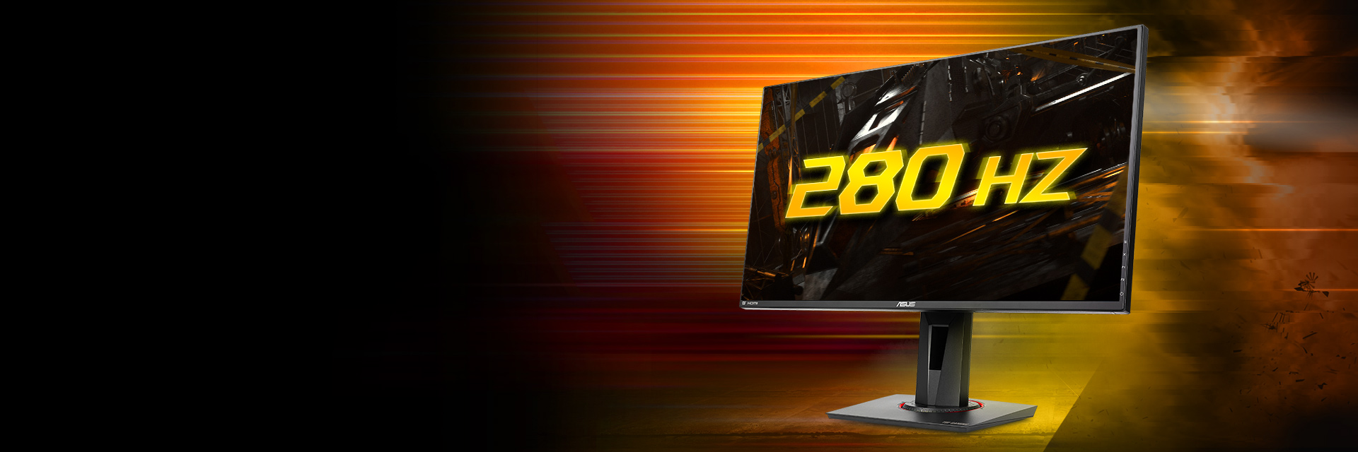 the monitor facing left with a 280hz effect image as screen