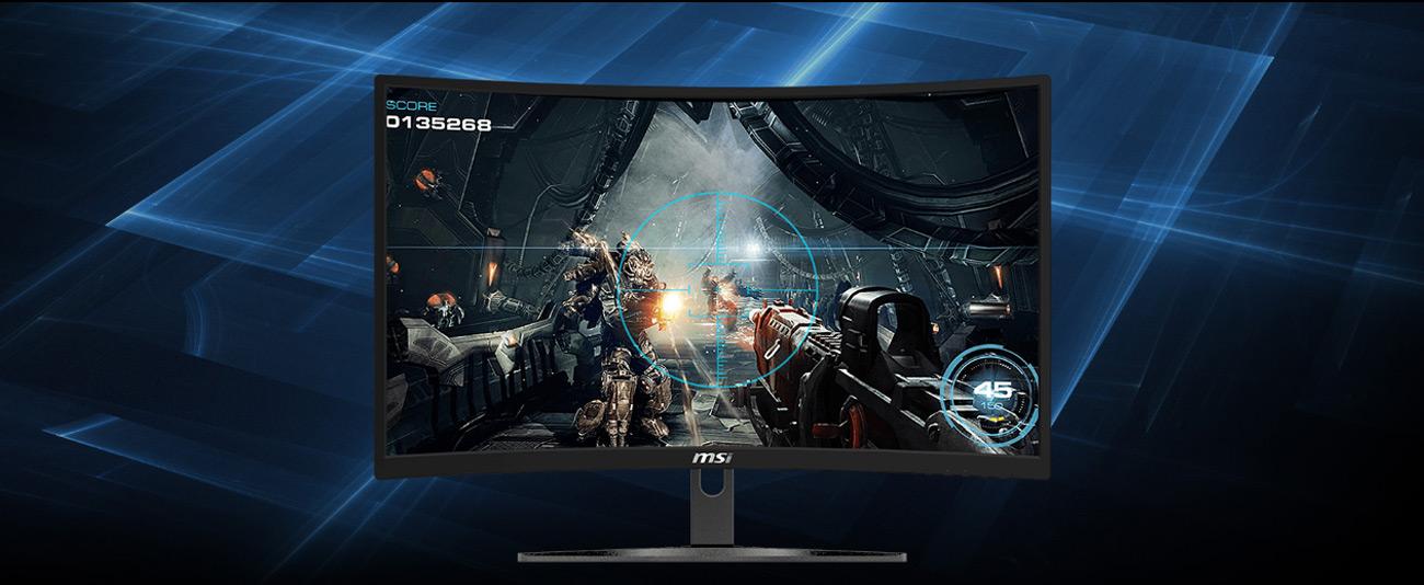 MSI G24VC facing froward showing a sci-fi FPS video game screenshot