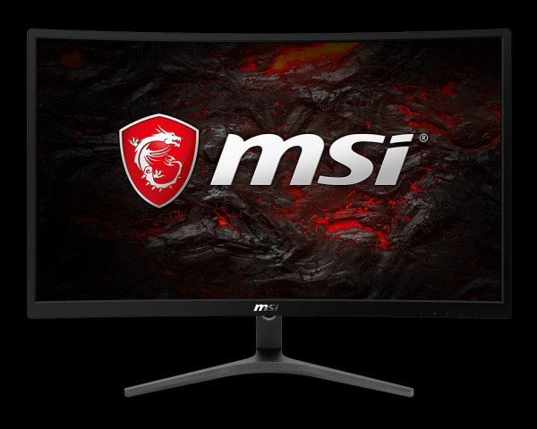 G24VC monitor facing forward showing the MSI logo on a volcanic rock background
