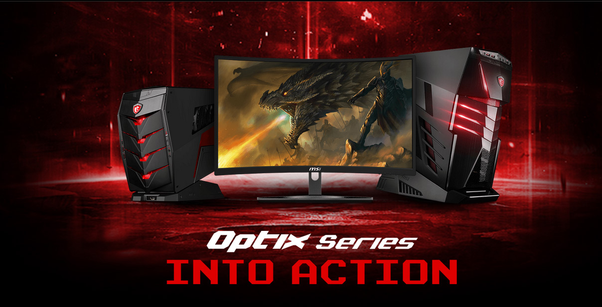 MSI G24VC next to two MSI gaming desktops, a dragon is blowing fire on screen next to an armored dragon-rider. Text on this image reads: Optix Series INTO ACTION