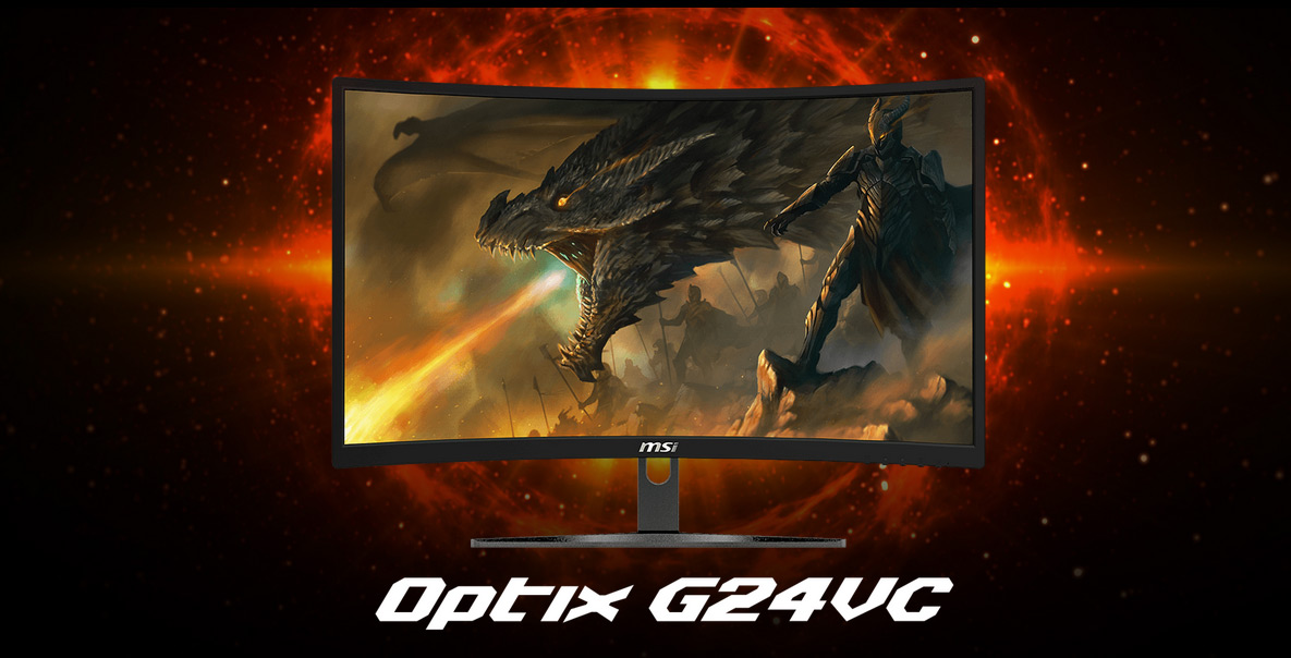 MSI G24VC monitor showing a dragon breathing fire next to soldiers and an armored dragon rider. Text on this image reads: Optix G24VC