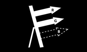 RGB less blue light design icon