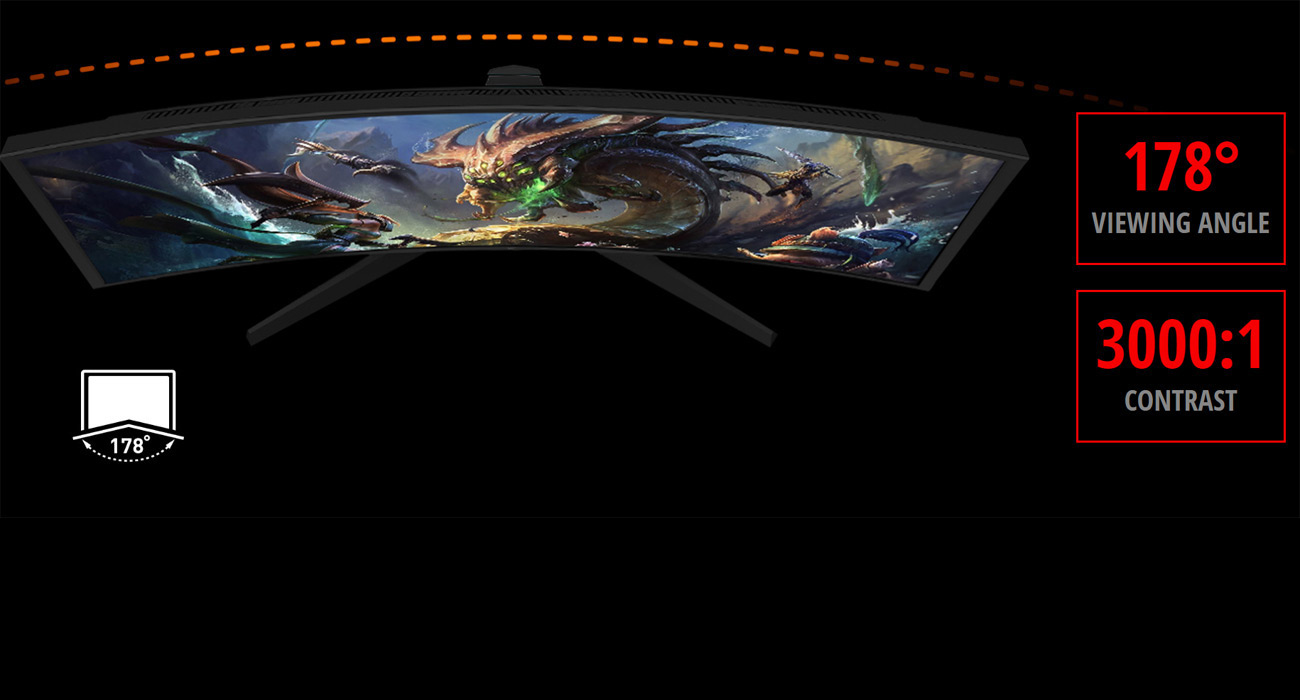 overhead view of the MSI G24VC showing League of Legends art on screen, 178 degree viewing angle and 3000:1 contrast badges
