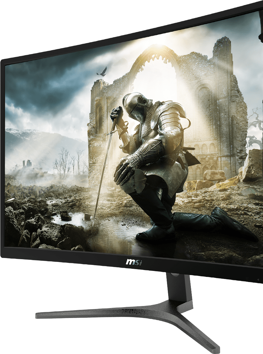 MSI G24VC monitor angled to the left showing a knight kneeling in front of stone ruins with the sun shining on him
