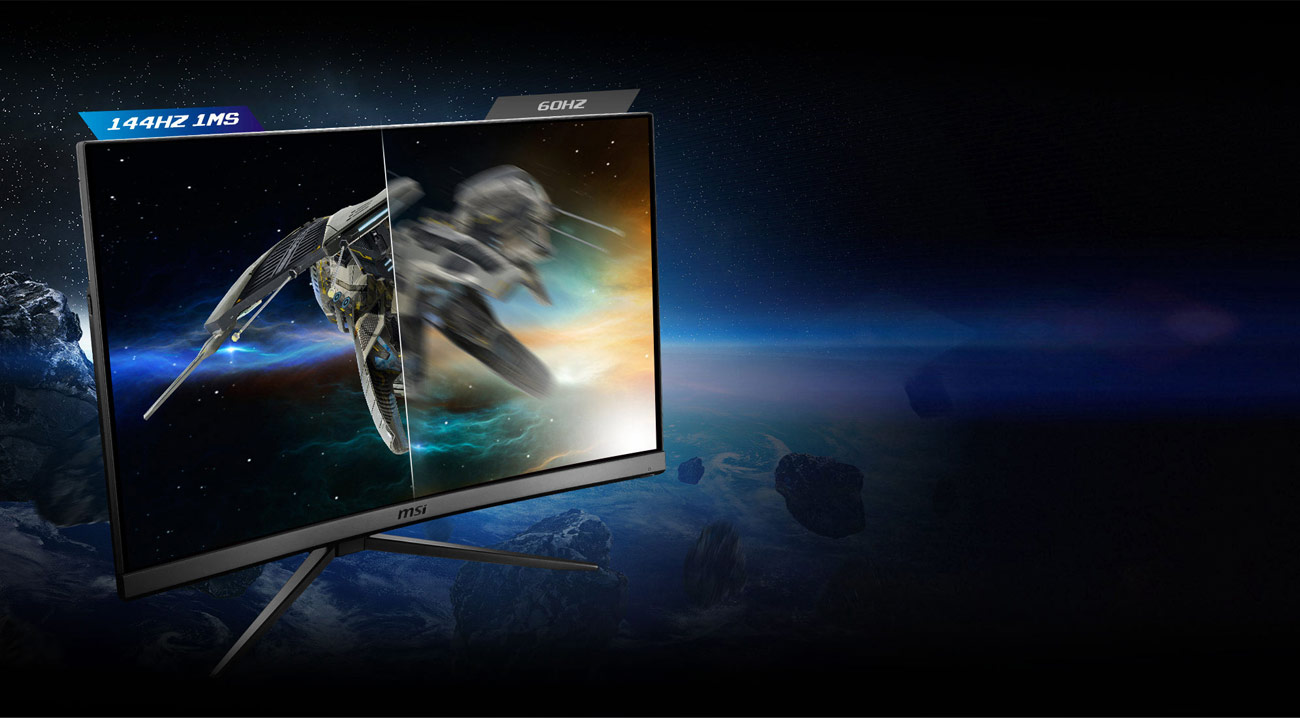 one image splited into two, showing different effect of 144hz and 60hz