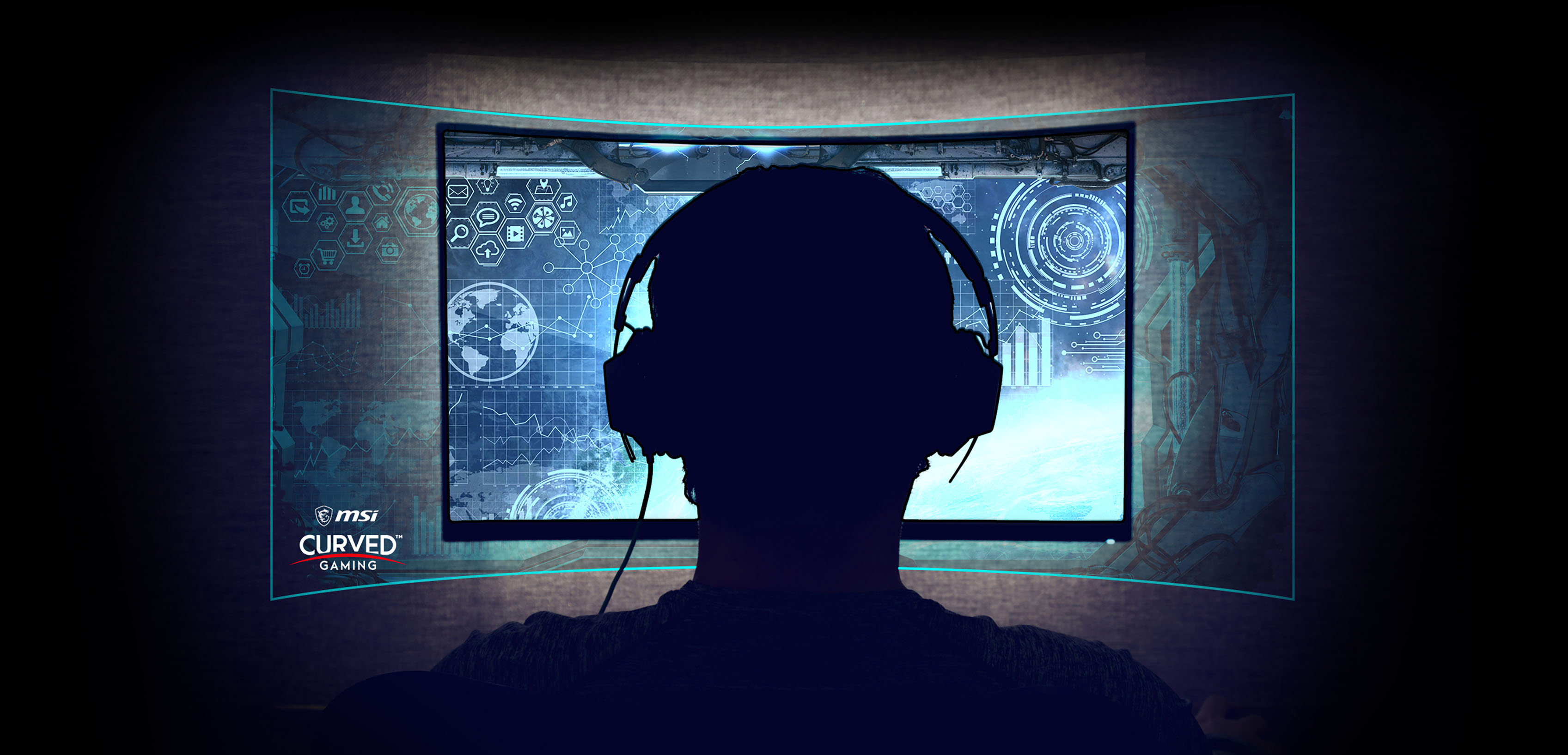 a man is in front of the monitor, showing the effect of curved