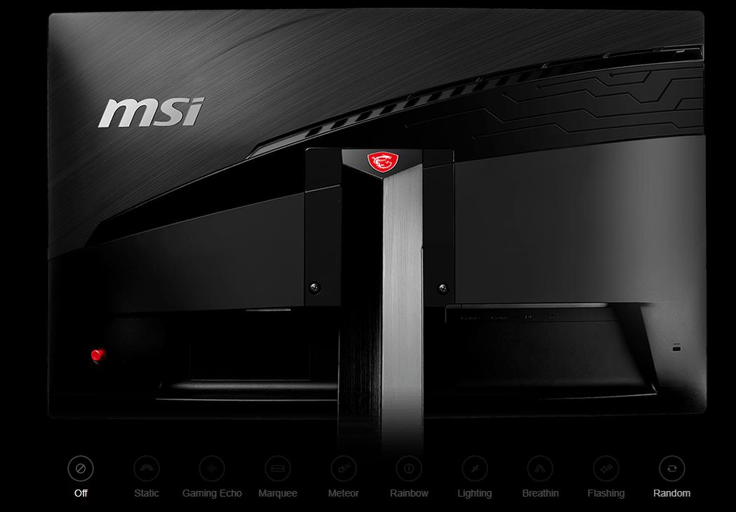 the back of the MSI Optix monitor
