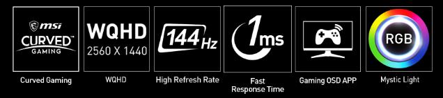 cruved icon, WQHD icon, 144hz icon, 1ms icon, gaming OSD app icon, Mystic Light icon