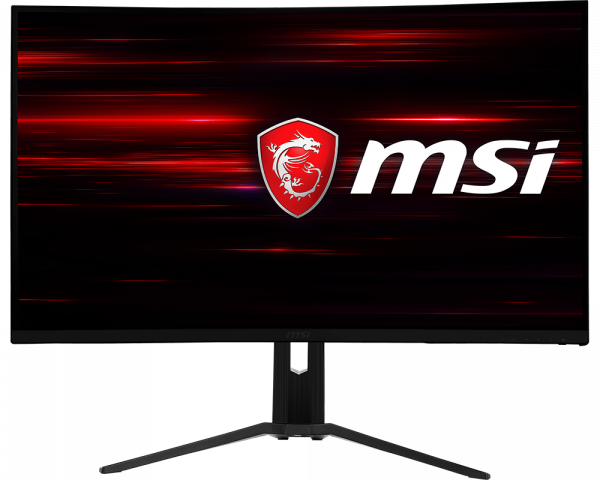 Optix monitor with MSI logo in the center as screen