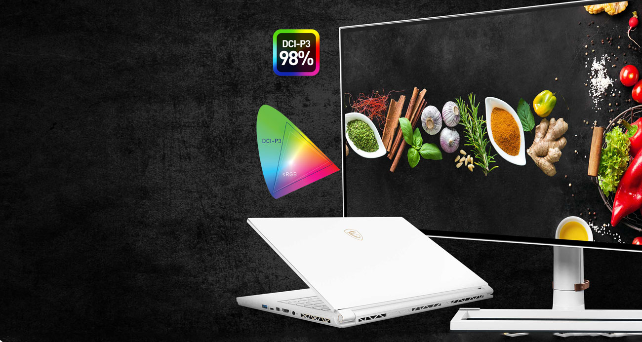 a monitor and a laptop with a food ingredients image as screen