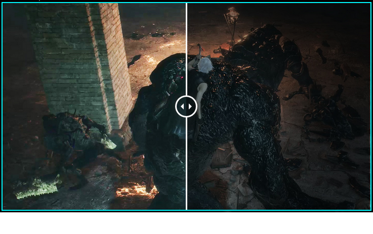 one image splited into two, showing different effect between night vision on and off