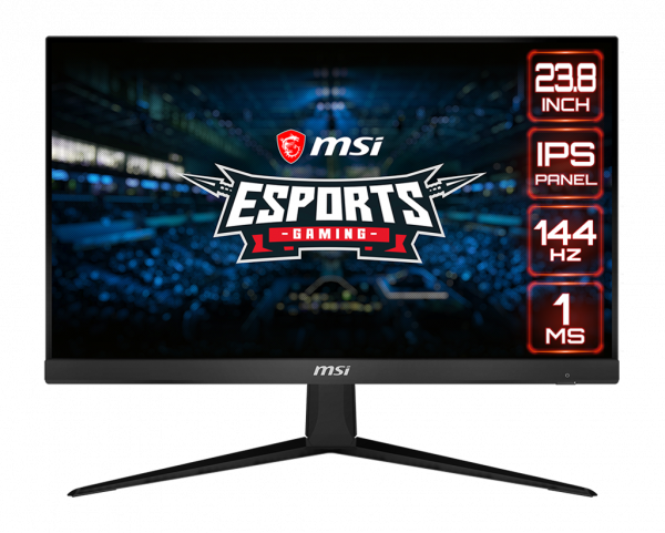 a monitor with a game site as screen and EXPORTS logo and MSI logo in the center of it, 24.5inch icon, IPS icon, 240hz icon and 1ms icon on the right of the monitor
