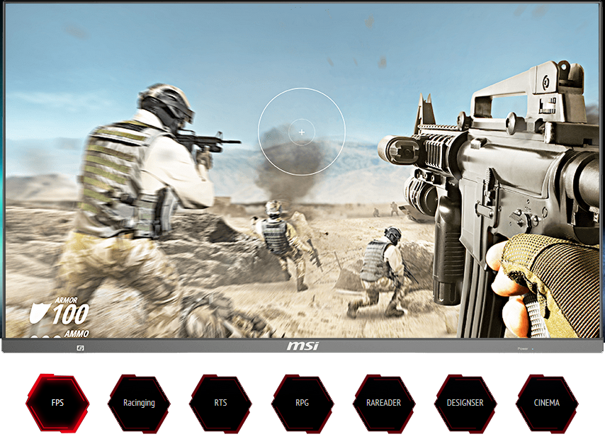a shooting game screenshot as screen