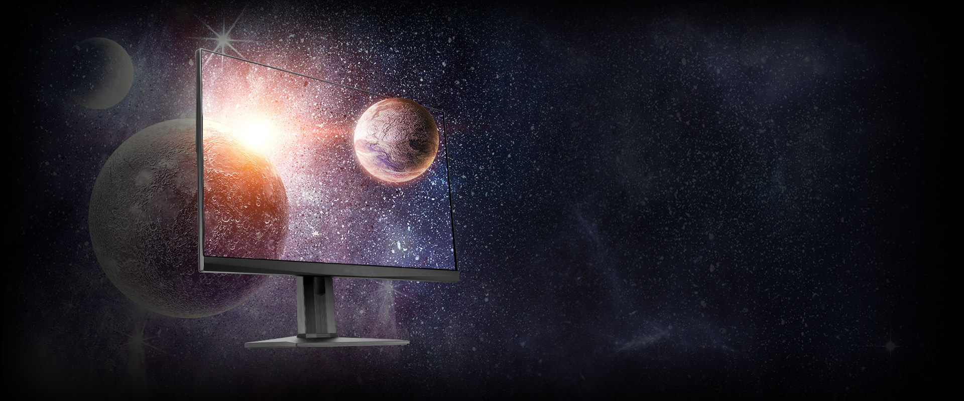 the monitor with a space image as screen
