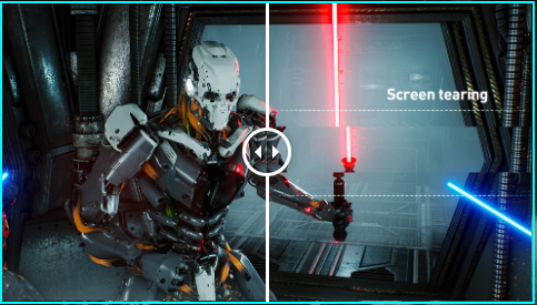 one image splited into four, showing different effect of screen tearing