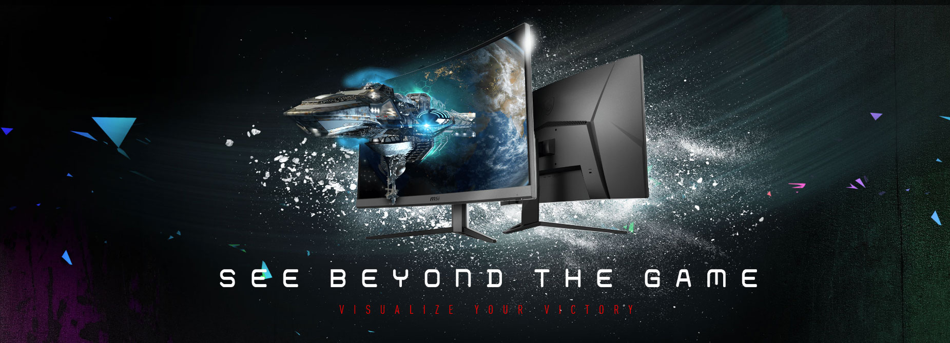 two monitors with a spaceship as screen in a black background