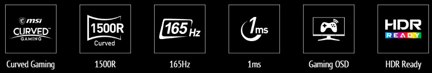cruved icon, 1500R icon, 165hz icon, 1ms icon, gaming OSD app icon, HDR icon