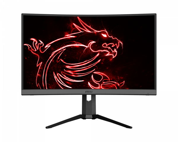 Optix monitor with stecher red dragon in the center as screen