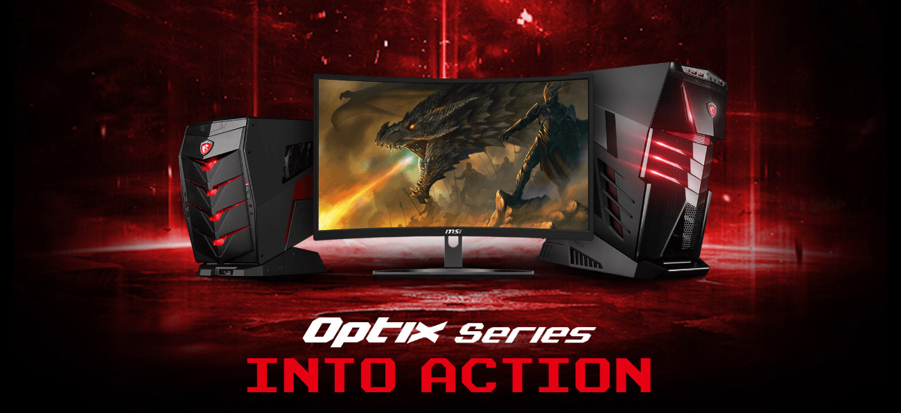 a set of computer in a red background, a dragon as screen of the monitor