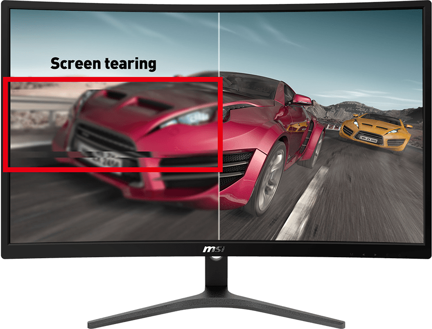 one image splited into two, showing different effect between freesync with and without