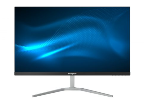 a monitor with a blue abstract image as screen