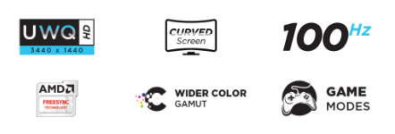 UWQ HD icon, Curved screen icon, 100hz icon, AMD Freesync icon, Wider color icon, Game Modes icon