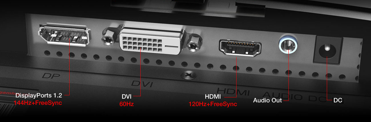 detail of the ports, DisplayPorts 1.2 , DVI, HDMI, audio out, DC