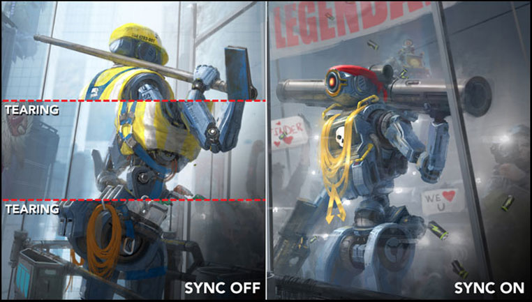 a image split into two, showing difference between sync off and on