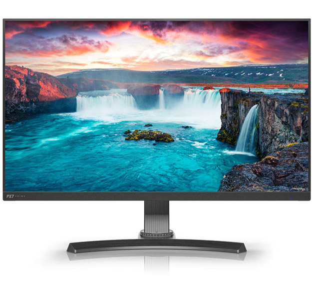 a monitor with scenery picture