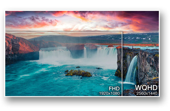 two scenery pictures showing difference between FHD and WQHD