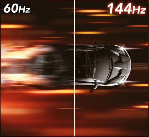 one image splited into two, showing different effect between 60hz and 144hz
