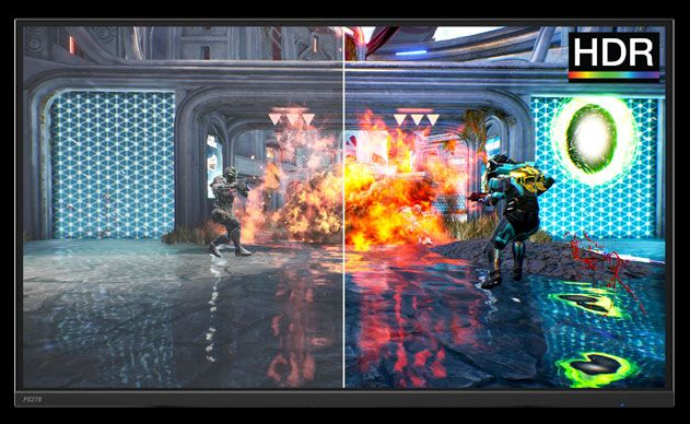 one image splited into two, showing different effect between HDR with and without