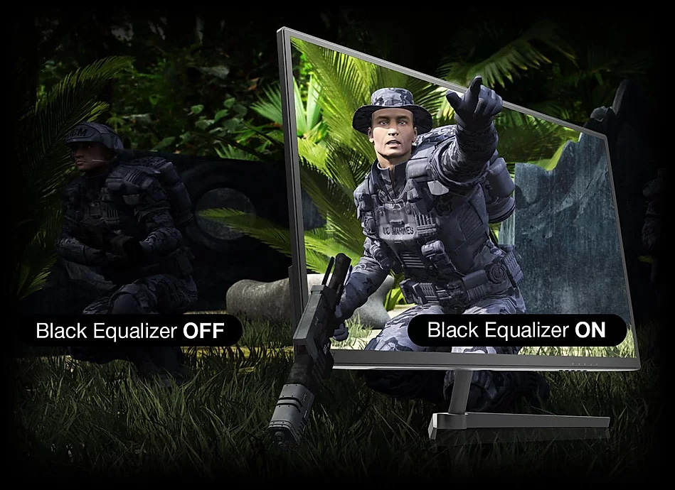 one image splited into two, showing different effect between black equalizer off and on