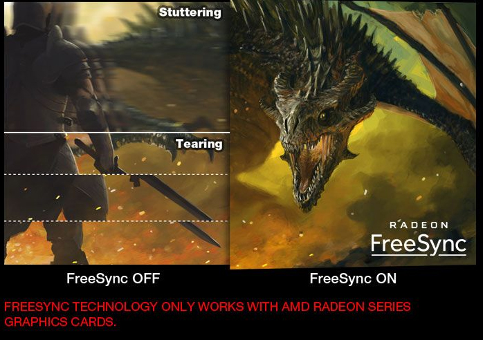 one image splited into two, showing different effect between freesync off and on