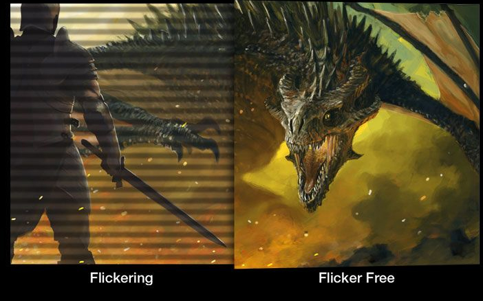one image splited into two, showing different effect between flicker with and without