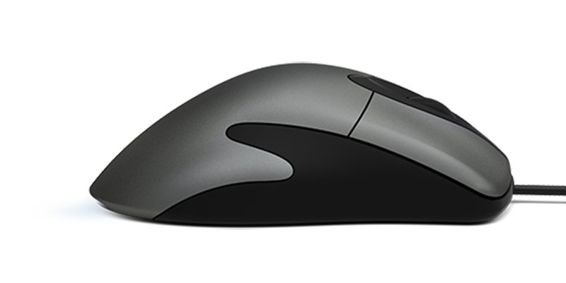 Microsoft Classic Intellimouse laying flat facing to the right