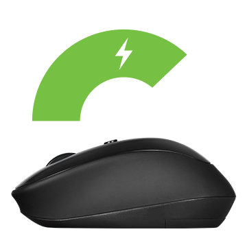 Rosewill Wireless Optical Computer Mouse angled to the left below a green energy odometer graphic
