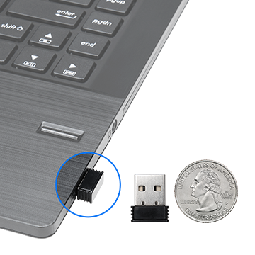 Rosewill Wireless Optical Computer Mouse's USB receiver next to a quarter and another receiver plugged into a laptop