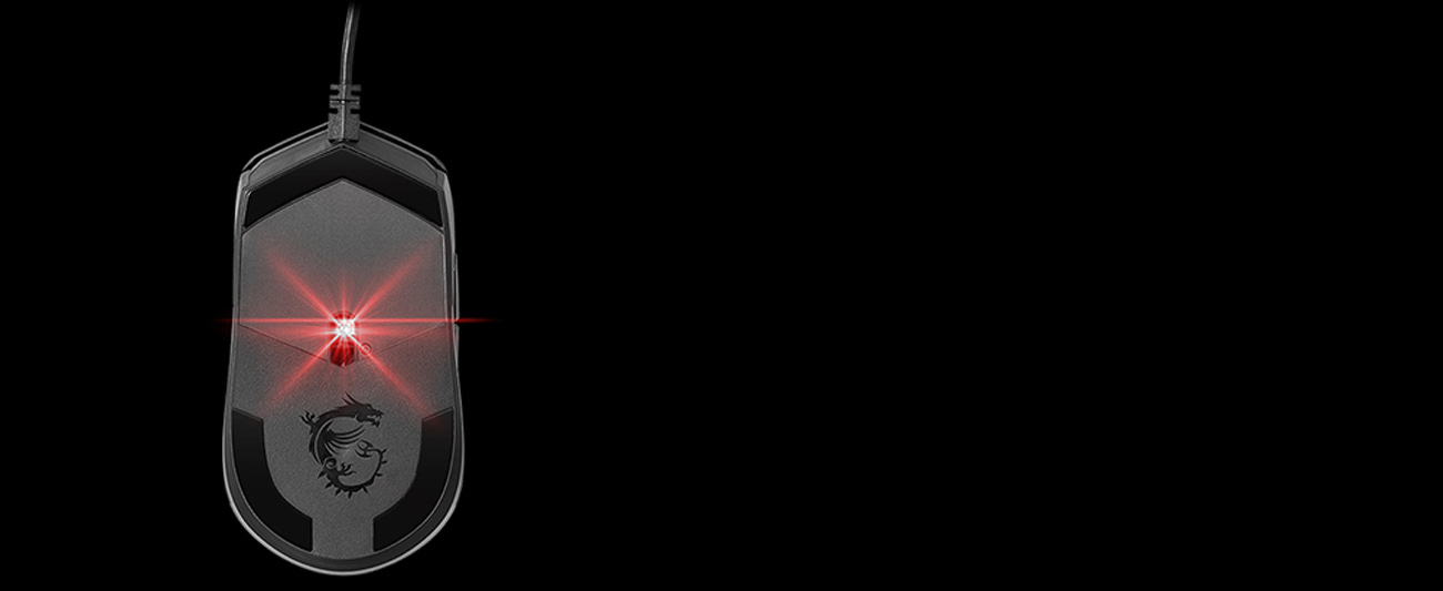 MSI Clutch GM11 Black Gaming Mouse back view